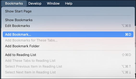 safari mac - add new bookmark