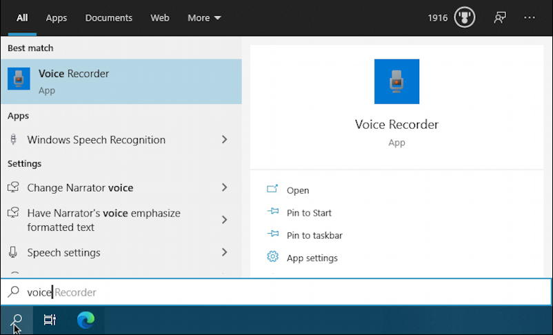 search for voice recorder windows 10