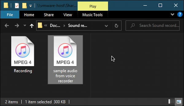 win10 voice recorder - file location m4a audio files