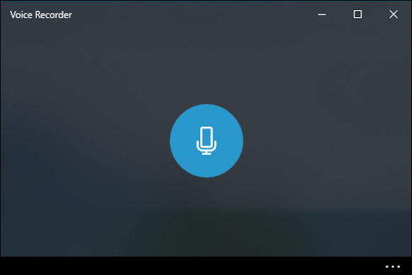 win10 voice recorder - main screen