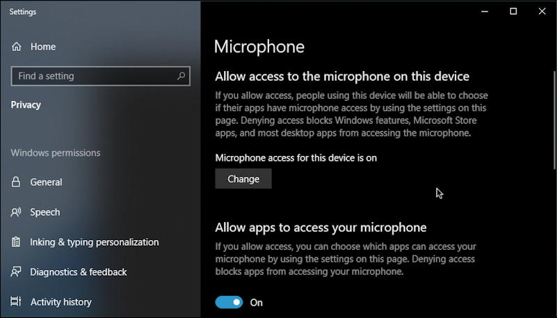 win10 microphone settings preferences control panel