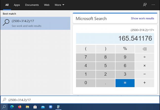 solved math equation in windows 10 taskbar search