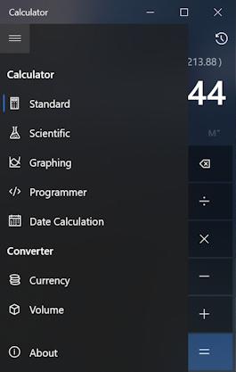 win10 pc calculator app program - main menu
