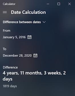 win10 pc calculator app program - date calculation math