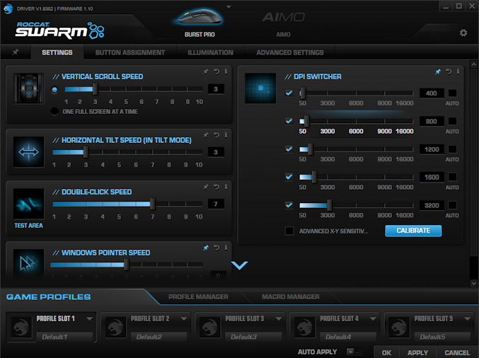 roccat swarm mouse customization settings preferences app window software