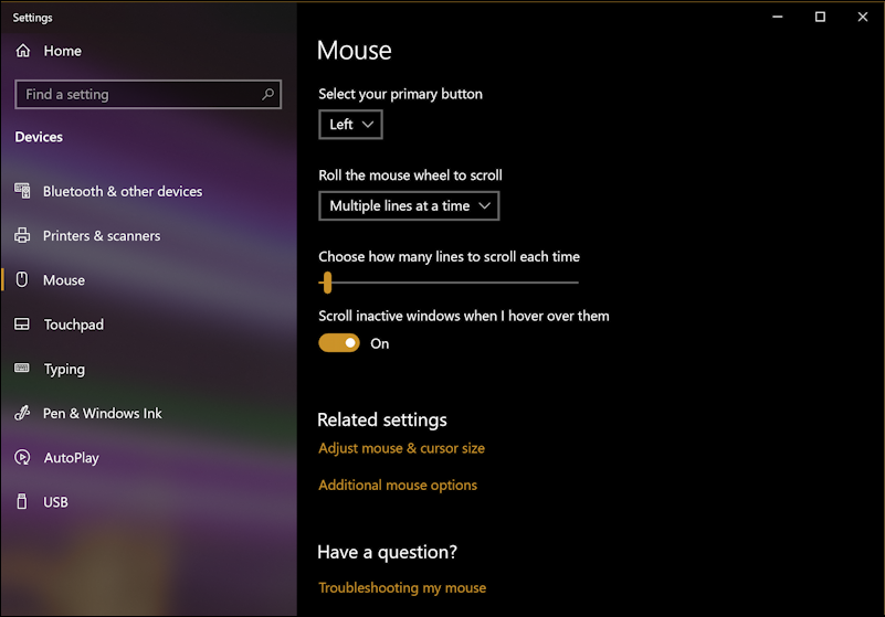 win10 mouse system settings - default options