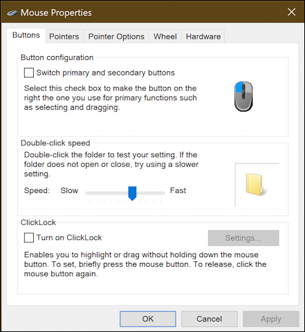 old windows mouse settings options preferences - general