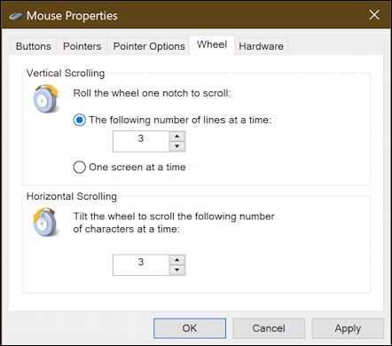 old windows mouse settings options preferences -  wheel settings