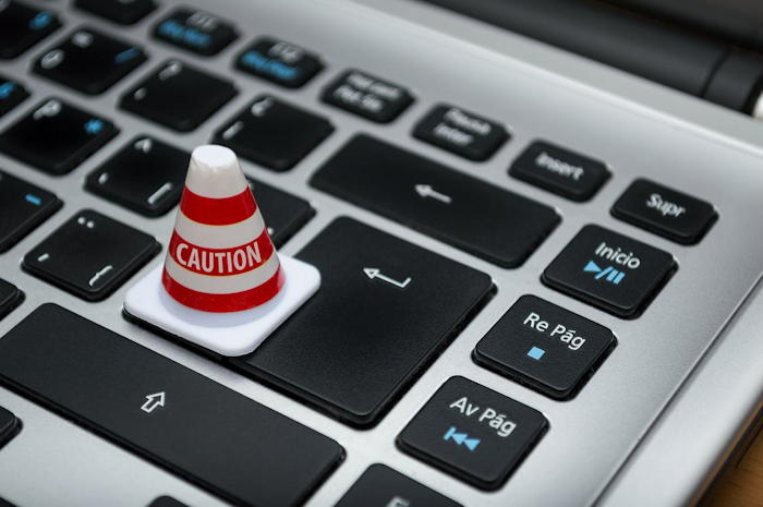 warning cone on keyboard password security