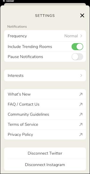 clubhouse app set profile - settings