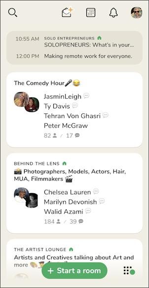 clubhouse app set profile - main screen