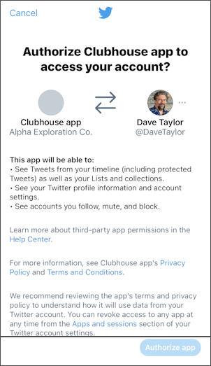 twitter clubhouse authorize access