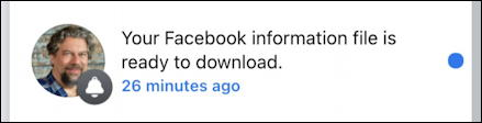 your facebook information data export ready to download notification