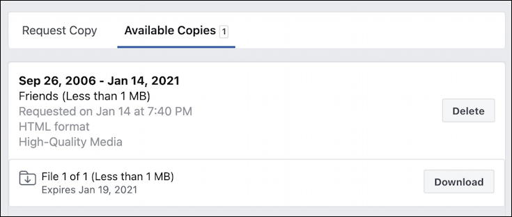 facebook fb export personal contacts list - download ready