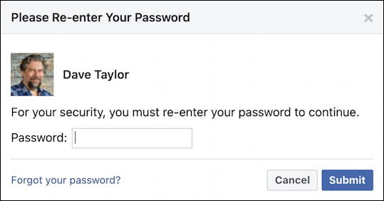 facebook fb export personal contacts list - re-enter password security