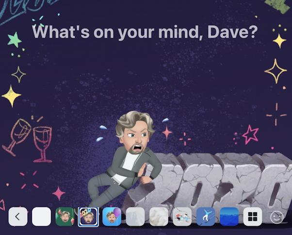 facebook status update - 2020 hny new year theme avatar background wallpaper