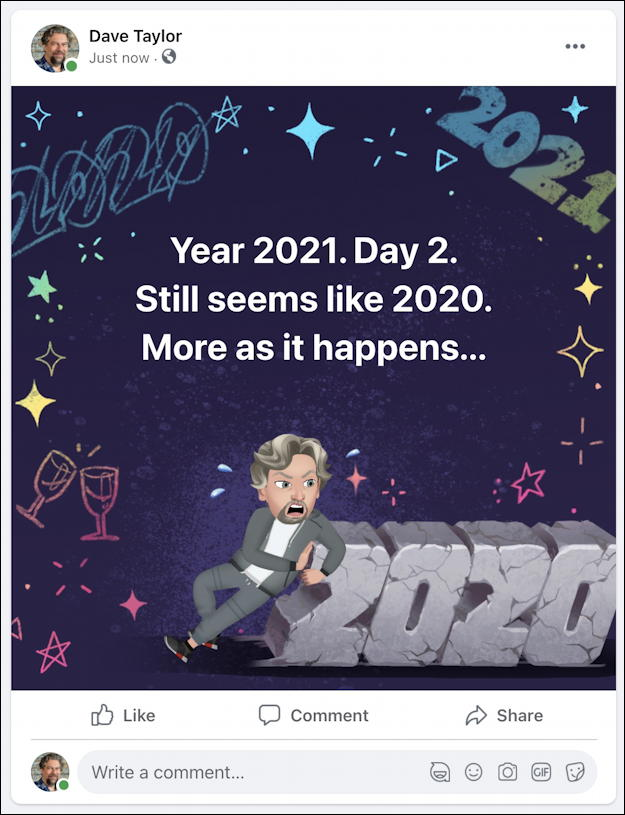 facebook post with avatar animjoi background wallpaper image graphic - 2020 new year 2021