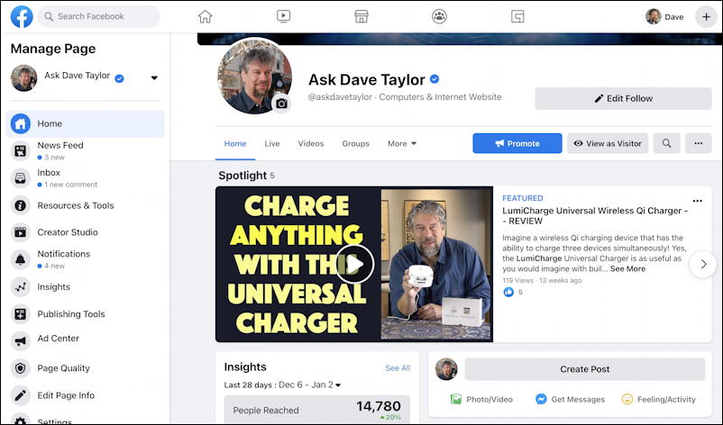 facebook business page - featured videos - sample page
