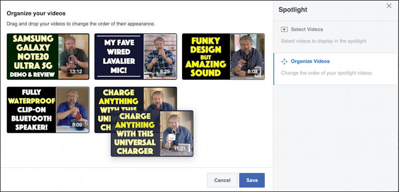 facebook featured spotlight video page - drag to reorder reorganize