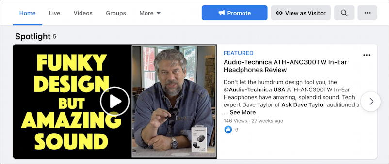 facebook featured spotlight video page - home page with new updated featured spotlight video