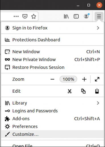 firefox for linux - themes - main menu