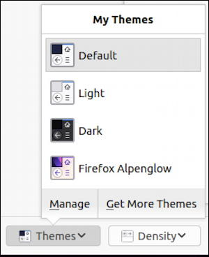 firefox for linux - themes - themes menu
