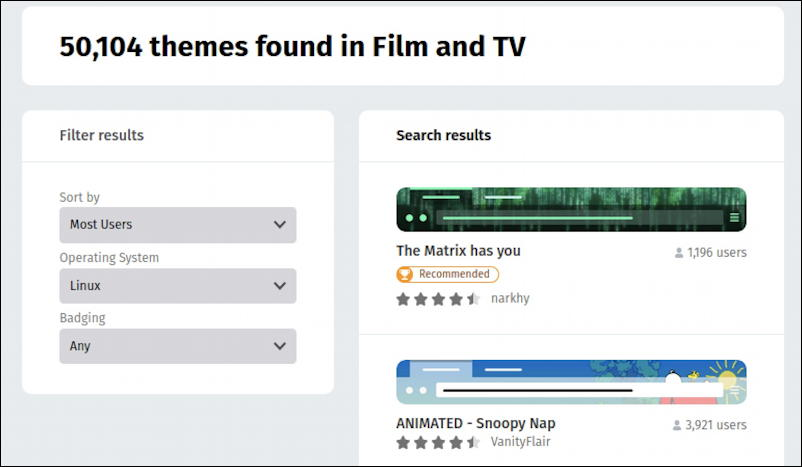 firefox for linux - themes - film and tv themes