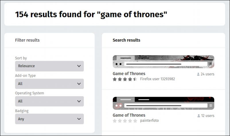 firefox for linux - themes - game of thrones theme search results