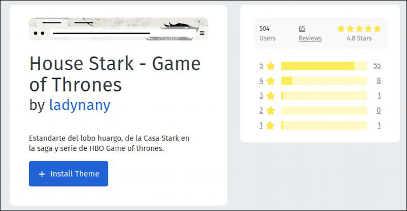house stark - game of thrones - firefox for linux - themes -