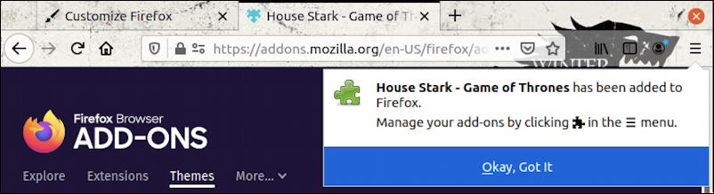 firefox for linux - themes - game of thrones stark house installed