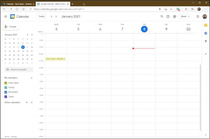 google calendar, month view