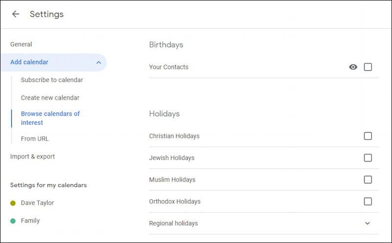 google calendar - subscribe - religious holidays
