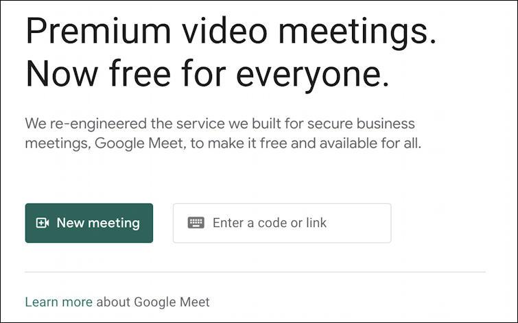 google meet - start meeting