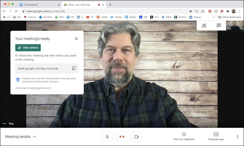 google meet - instant meeting live on camera