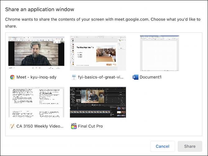 google meet - present now - app program window gallery options