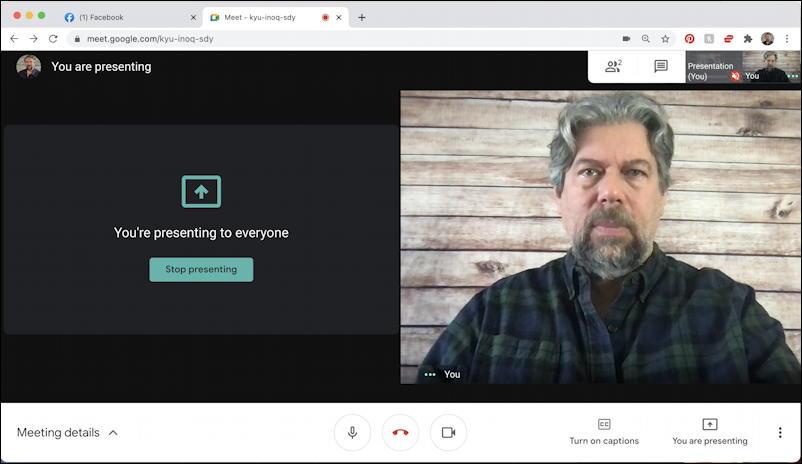 google meet - present now - now sharing window app program