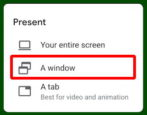 google meet - how to share program app window screen