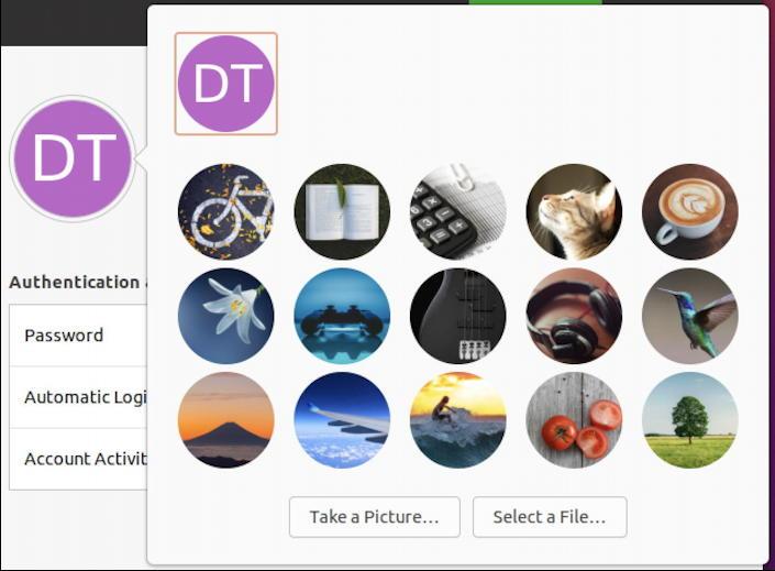 ubuntu linux - settings - users - change profile pic icon