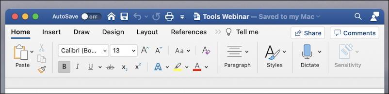 microsoft word 365 - quick access toolbar - default