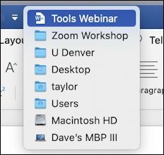 microsoft word 365 - quick access toolbar - mac file system