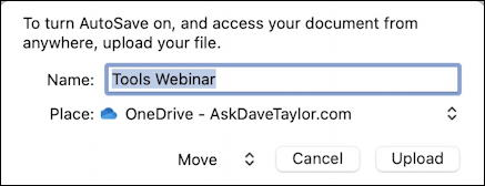 microsoft word 365 - quick access toolbar - autosave settings