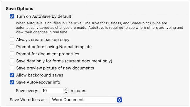 microsoft word 365 - quick access toolbar - autosaver settings preferences