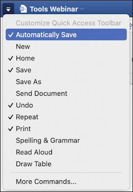microsoft word 365 - quick access toolbar - customize menu