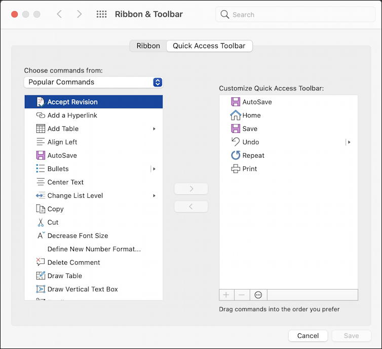 microsoft word 365 - quick access toolbar - settings preferences