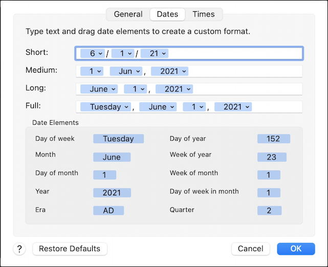 macos 11 - date and time formats