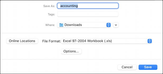 microsoft excel for mac - save as