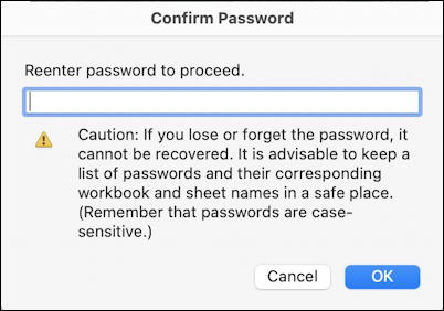 microsoft excel for mac - confirm password to open