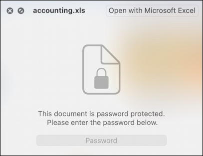 microsoft excel for mac - preview password protected
