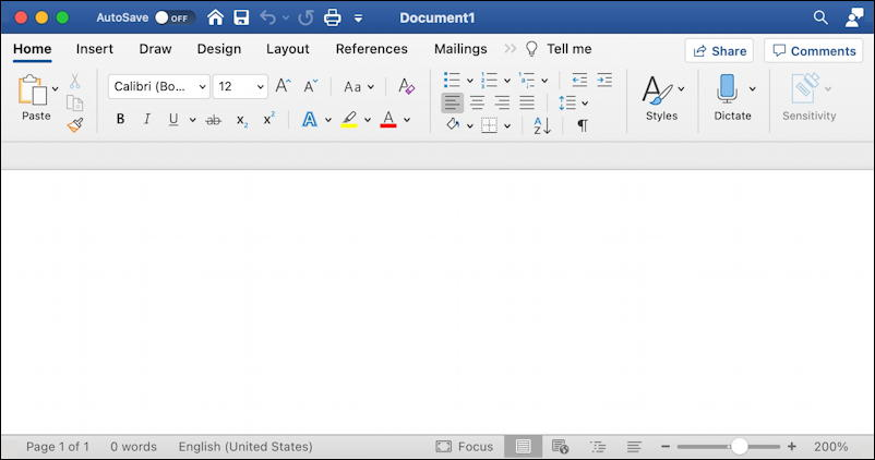 microsoft word for mac - empty blank document