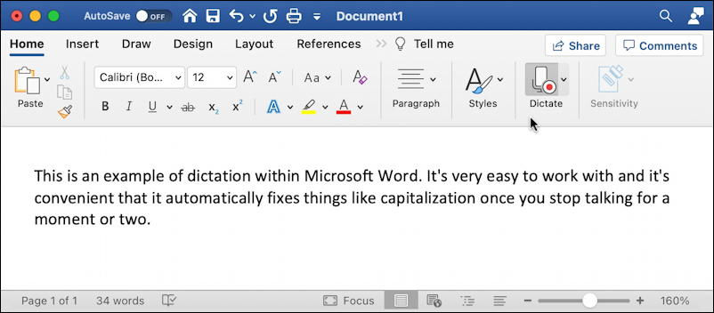 microsoft word for mac - dictating in msword